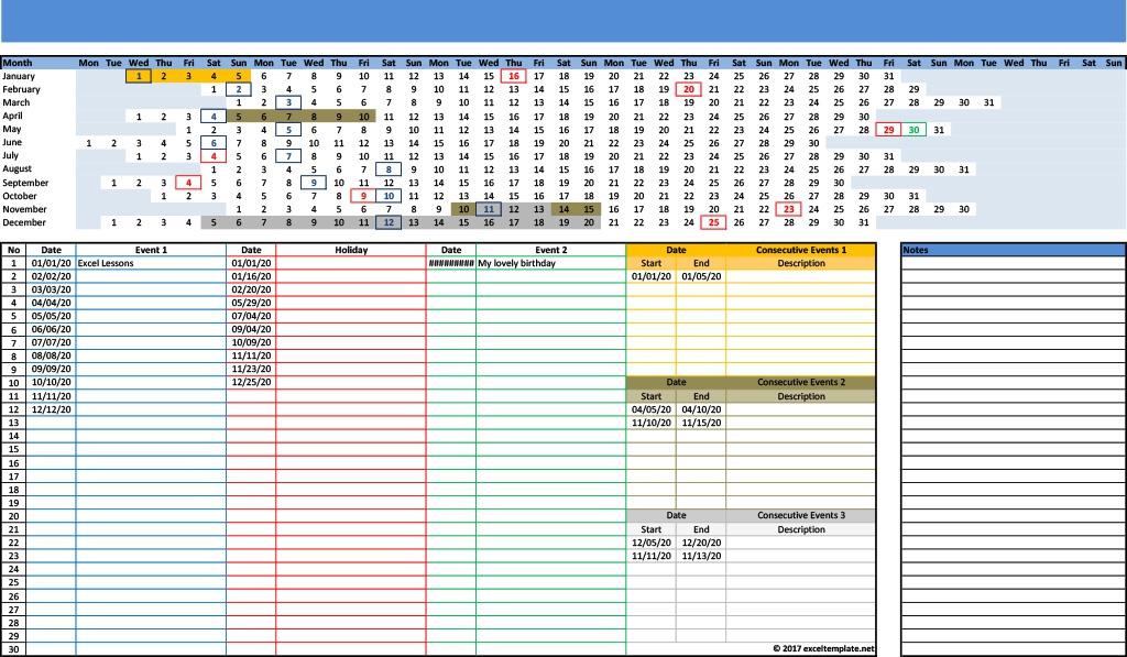 2020 Linear Calendar