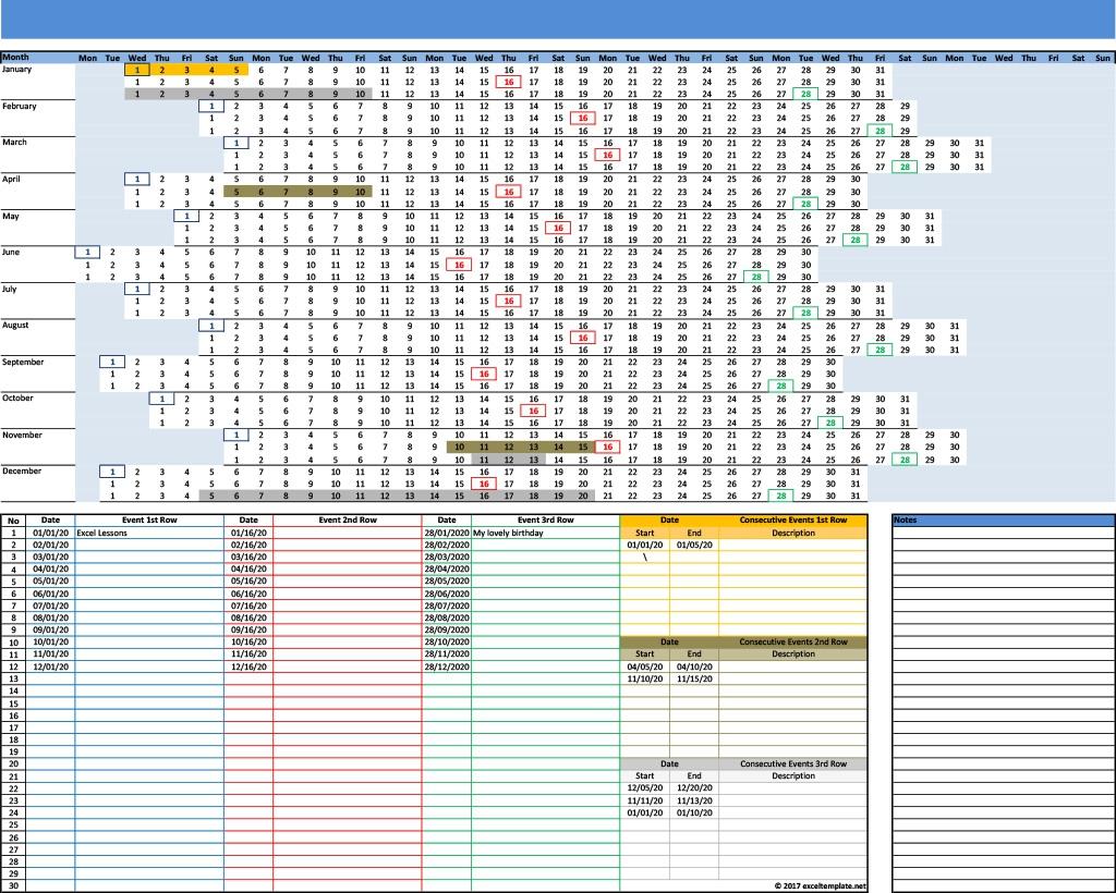 2020 Calendar Linear With 3 Rows