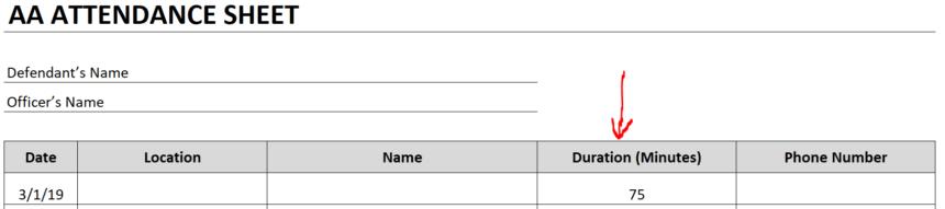 AA Attendance Sheet Field Name