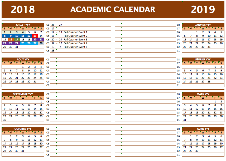2020 Academic Calendar Templates The Spreadsheet Page