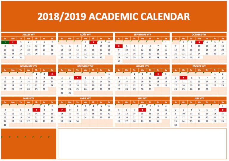 Academic Calendars separate notes