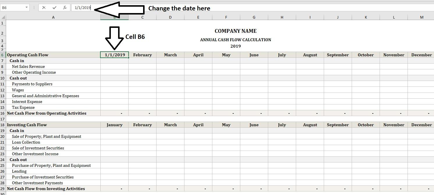 Annual Cash Flow Calculator Change Dates