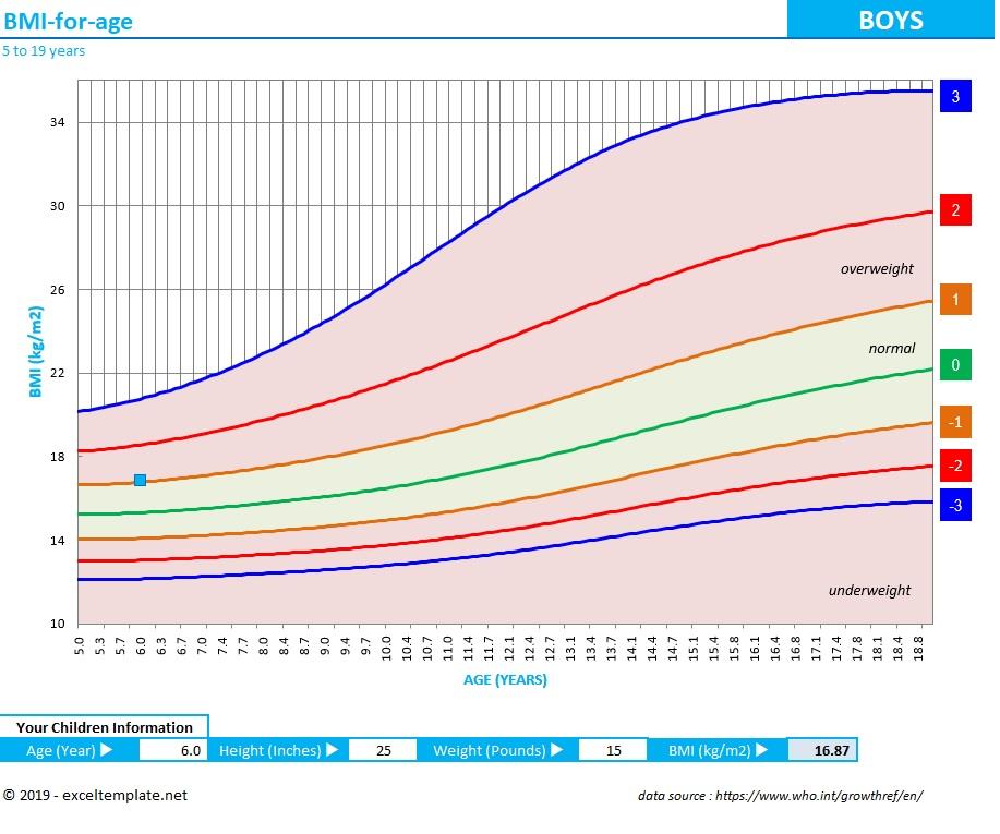 BMI Chart Teens and Children Boys