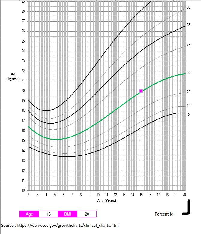 BMI Chart Teens and Children Female