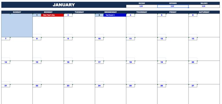Bill Payment Calendar month