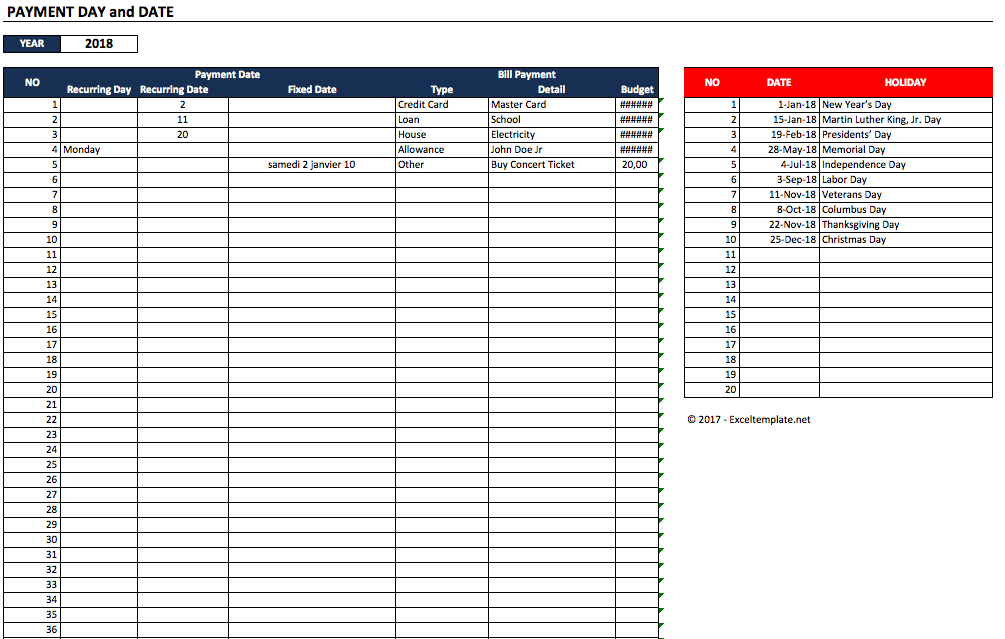 Excel Template For Bills And Payments from spreadsheetpage.com