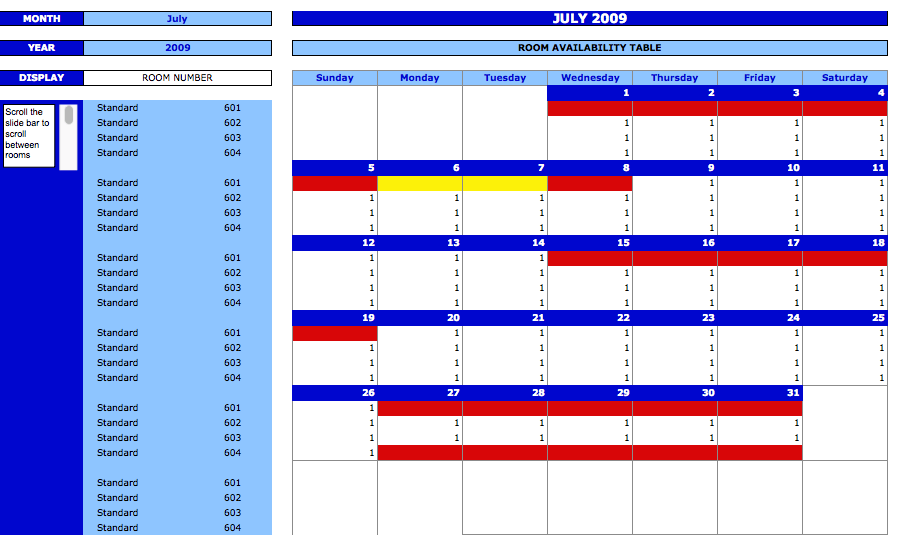 Booking And Reservation Calendar The Spreadsheet Page