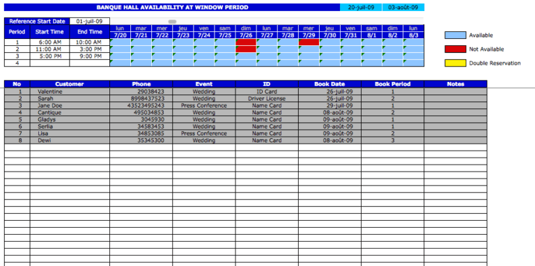 Booking Reservation Calendar period