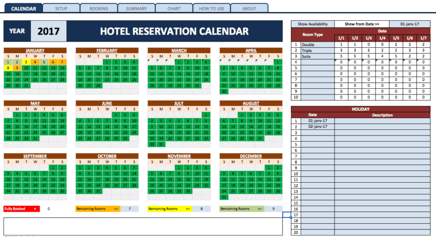 Booking Reservation Calendar room
