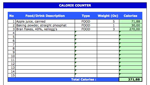 Calorie Tracker Spreadsheet counter