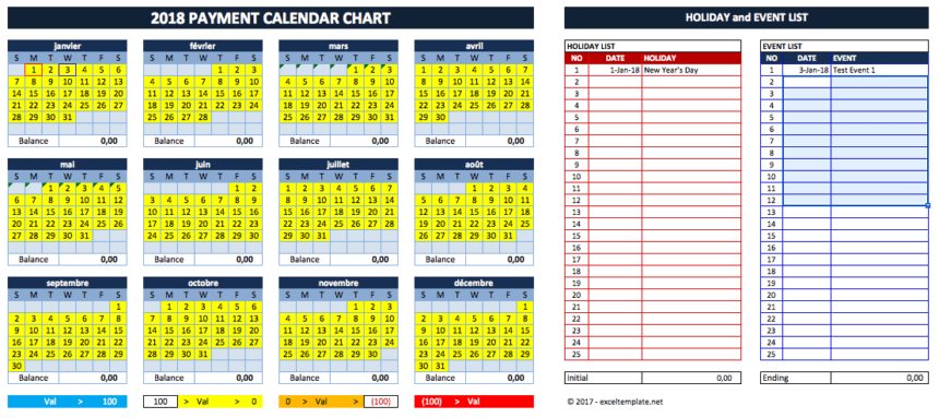 Cash Flow Planner yearly calendar