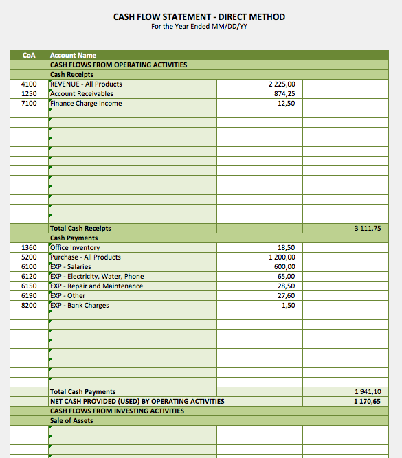 Cash Flow Statement The Spreadsheet Page