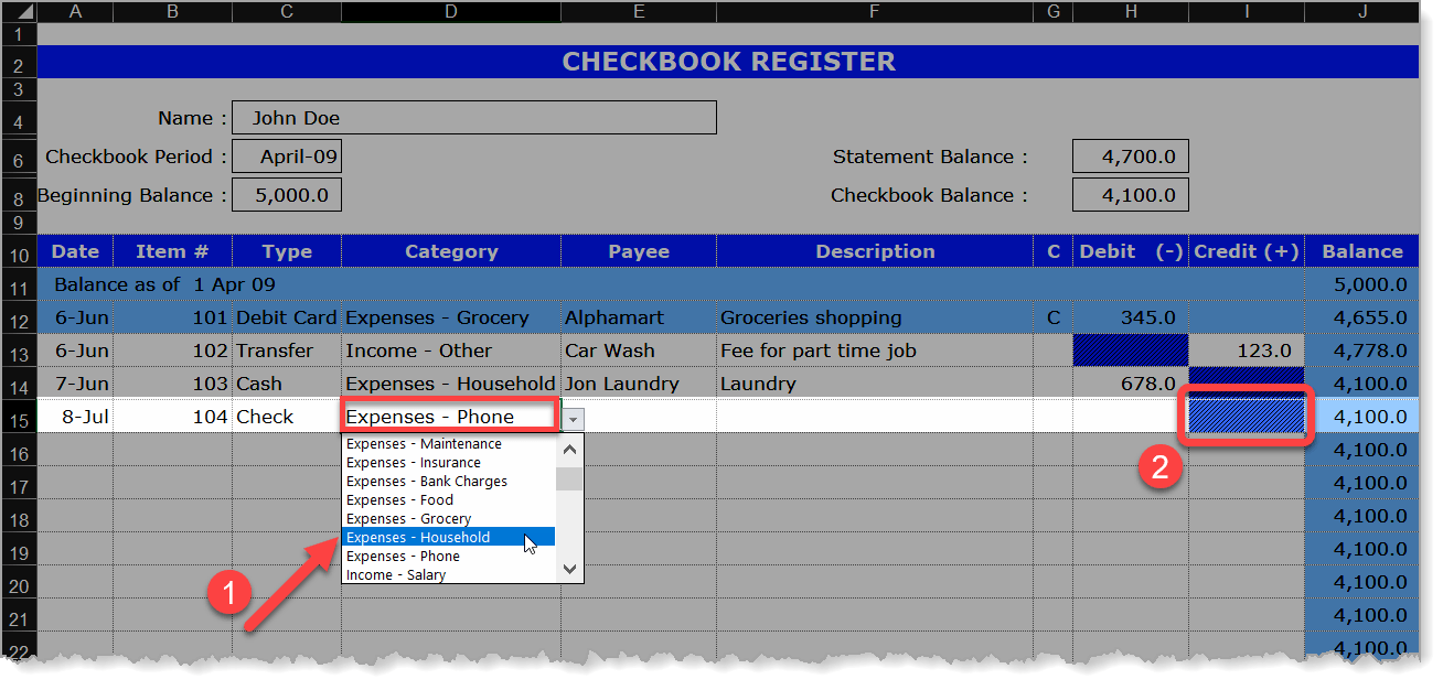 Checkbook Register Category Drop-Down