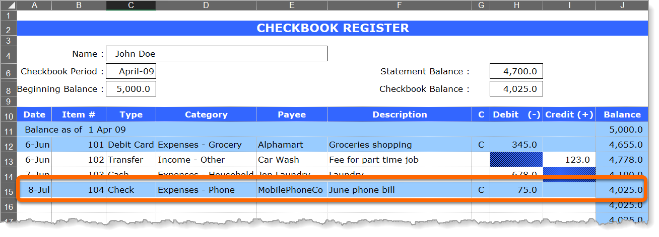 Checkbook Register Cleared Check Example