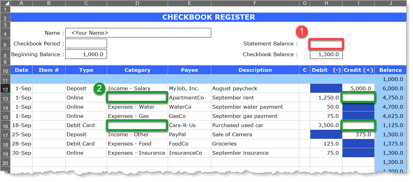 Checkbook Register Dataset