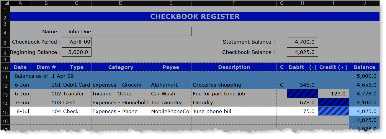 Checkbook Register Expense Example