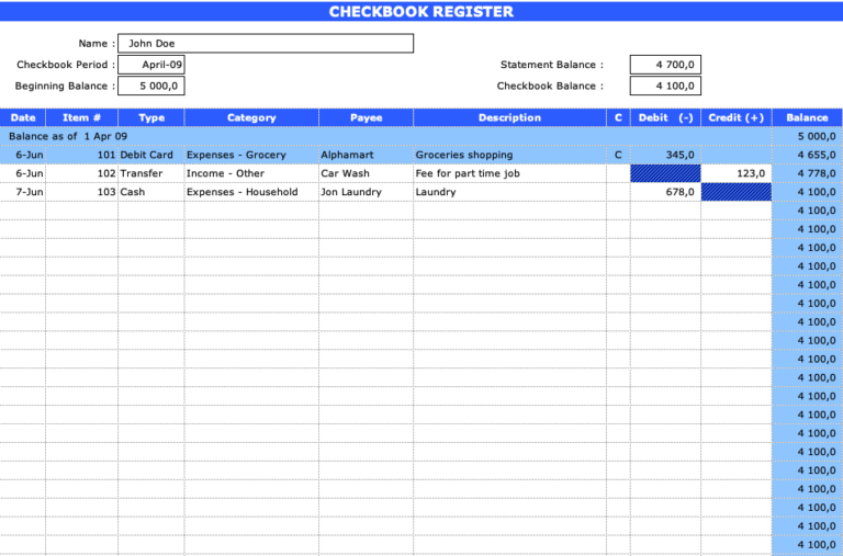 Checkbook Register Main View