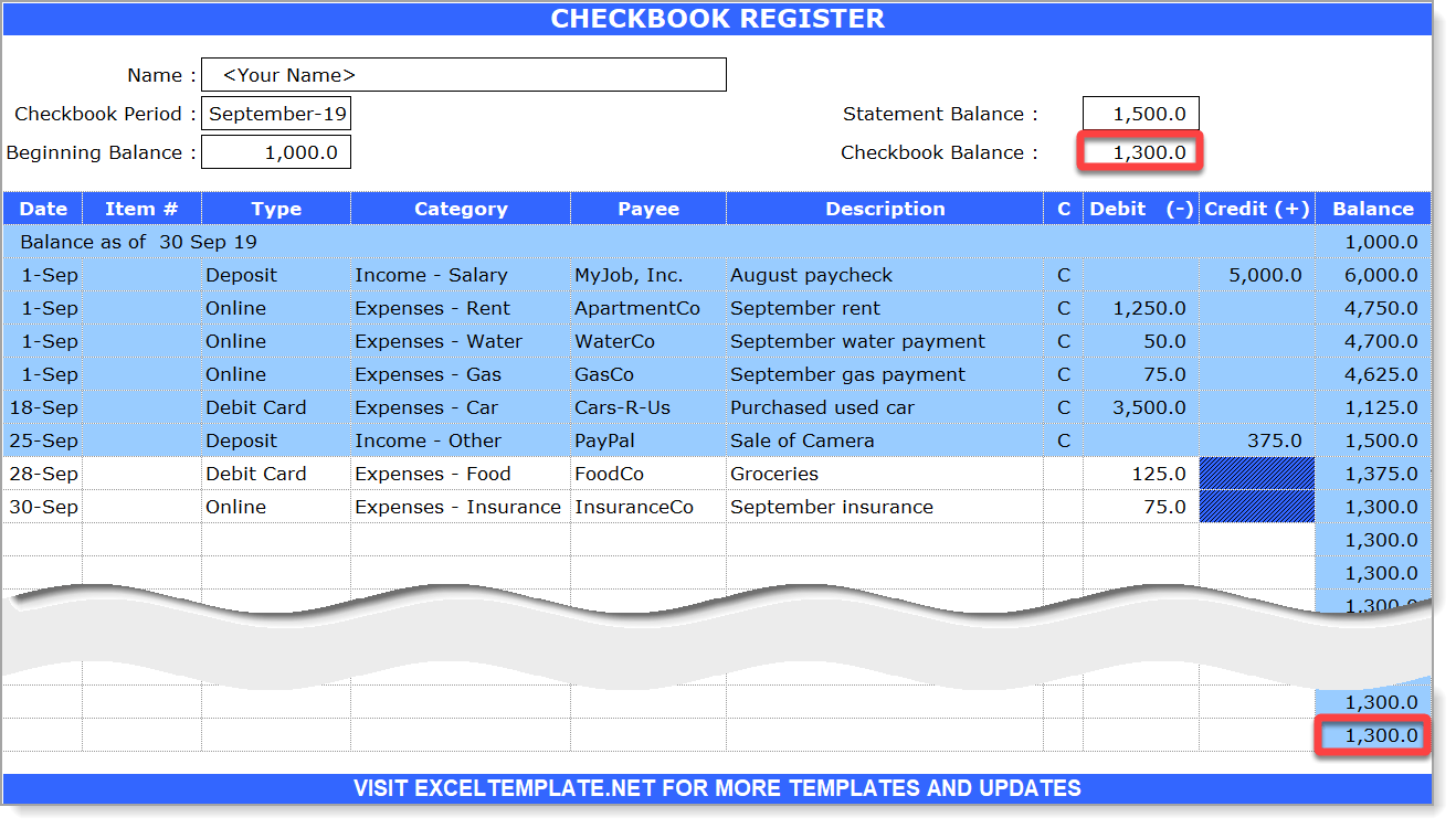 Checkbook Register Reconsiliation