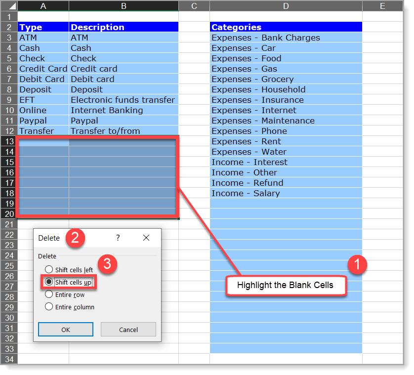 Checkbook Register Remove Spaces