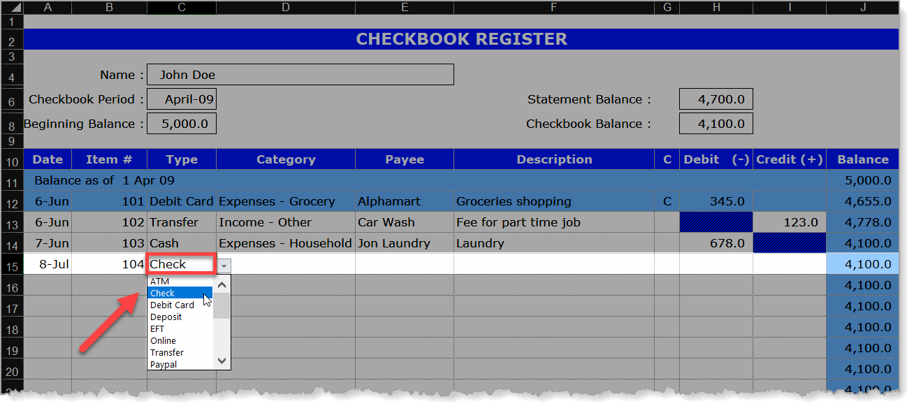 Checkbook Register Type Drop-Down