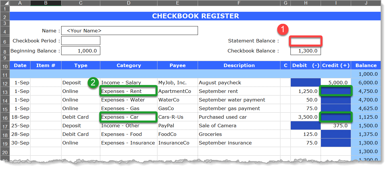 Checkbook Register Updated Dataset