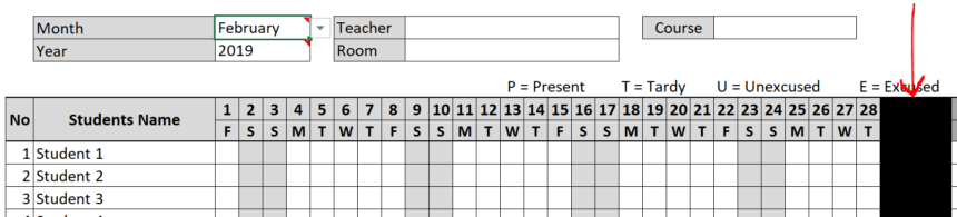 Class Attendance Sheet Blanked