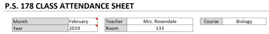 Class Attendance Sheet General Info