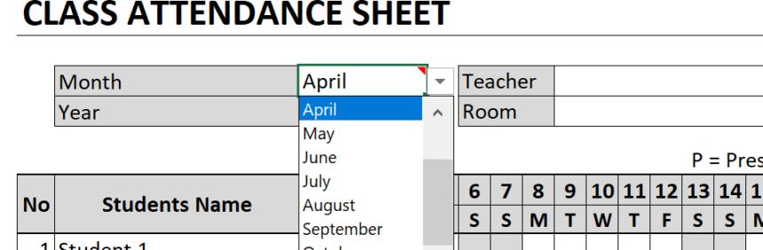 Class Attendance Sheet Month