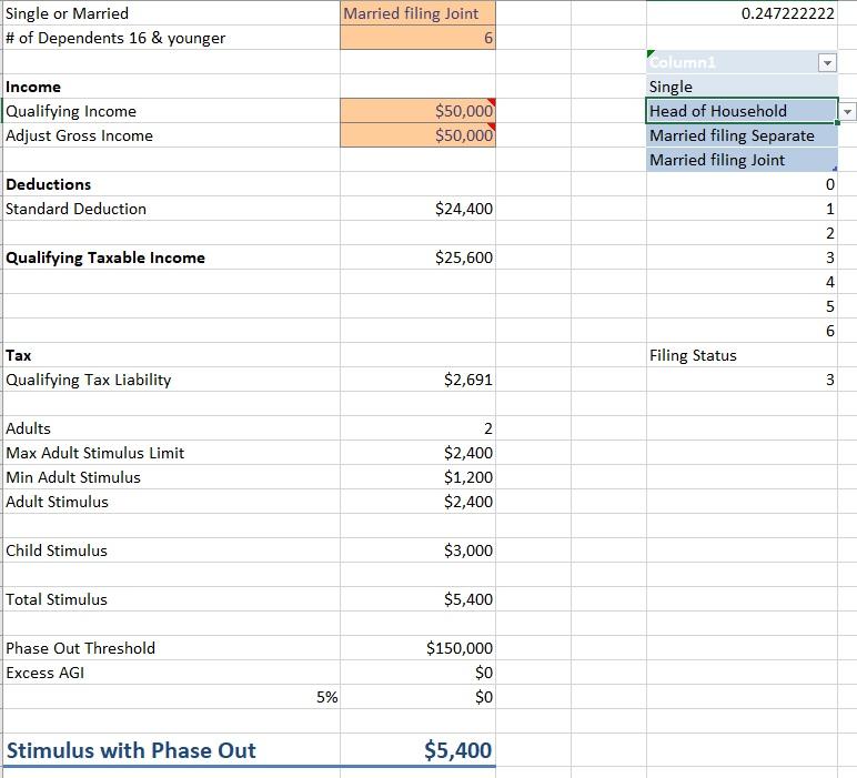 Coronavirus Stimulus Calculator Tax Family Worksheet