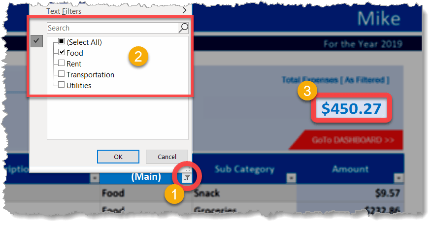 Daily Expense Sheet Drop Down Buttons