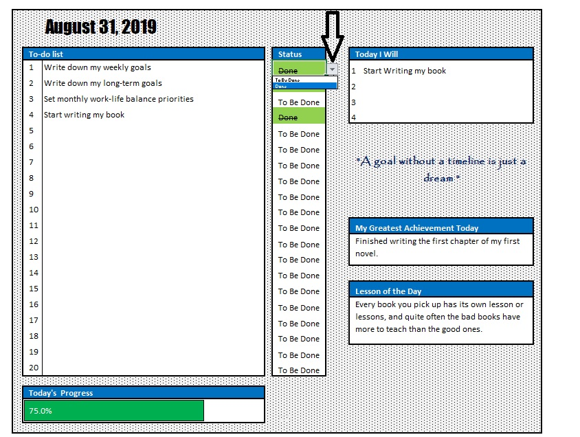 Daily Goal Planner Dropdown Menu