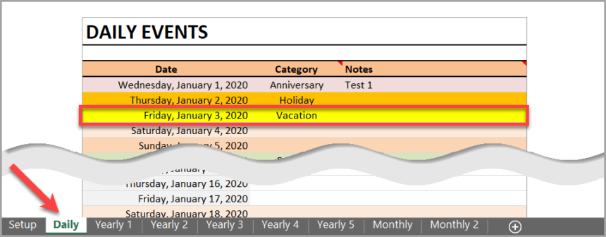 Daily Monthly Yearly Calendar Template Event List