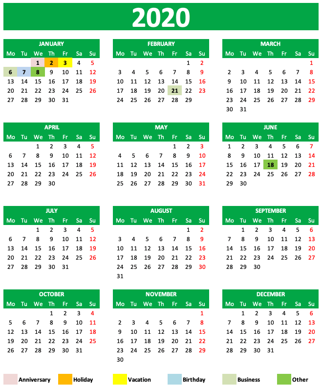 Daily Monthly Yearly Calendar Template Green Year