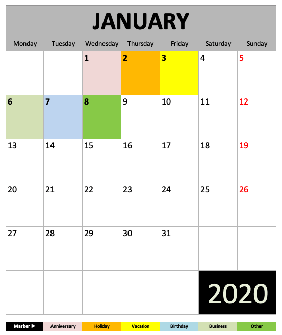 Daily Monthly Yearly Calendar Template January View