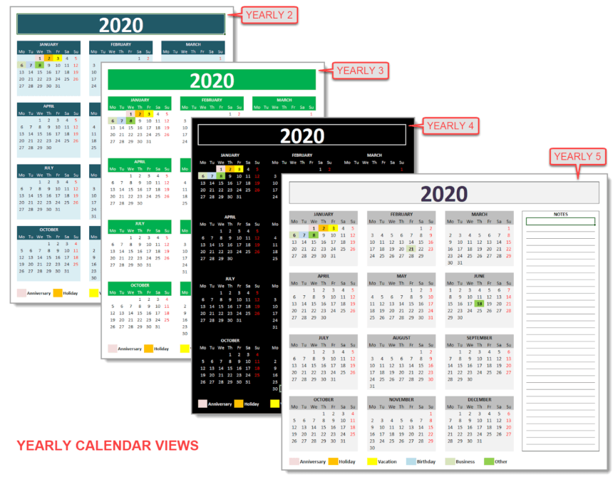 Daily Monthly Yearly Calendar Template Multiple Years View