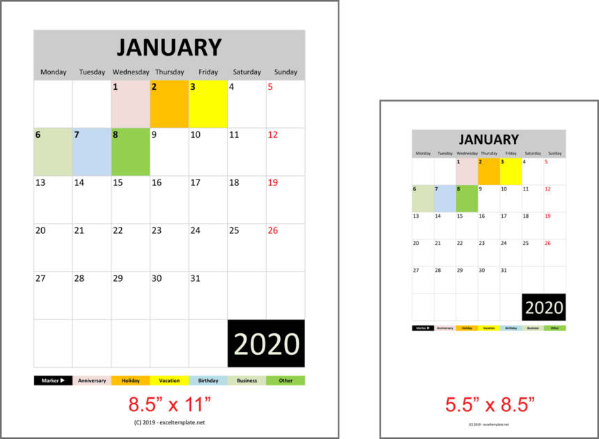 Daily Monthly Yearly Calendar Template Print Ratio