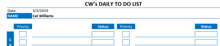 Daily To Do List Template Categorized Status