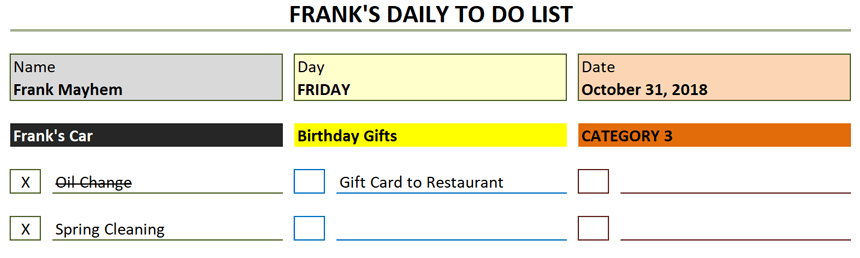 Daily To Do List Template Halloween-themed color scheme