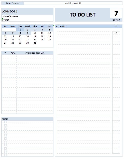 Daily To Do List Planner With Holidays