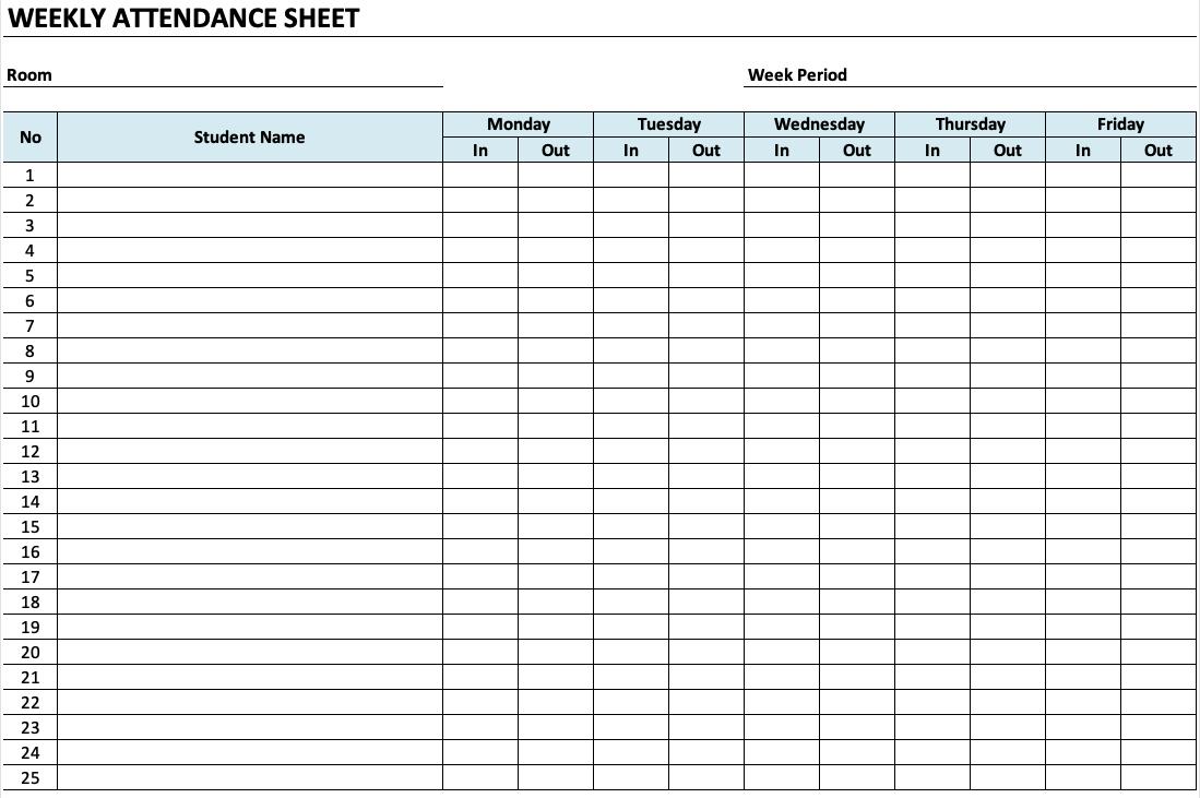 Daycare Attendance Sheet
