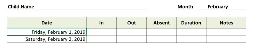 Daycare Attendance Sheet Dates