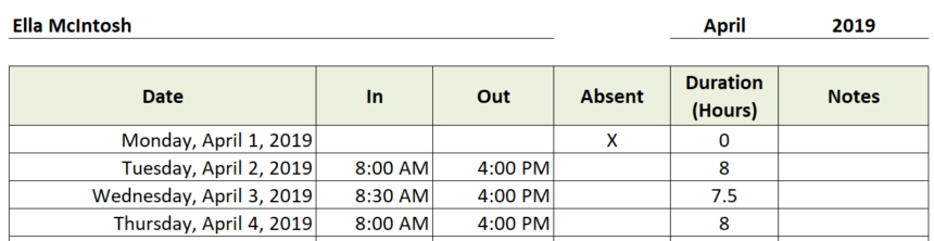 Daycare Attendance Sheet Hours