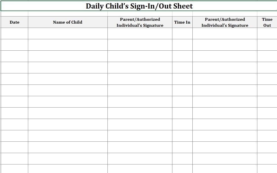 Daycare Sign-In Sheet Month Landscape