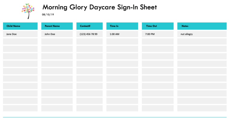 Daycare Sign-In Sheet Overview