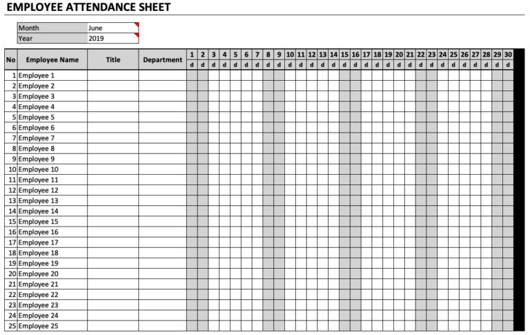Employee Attendance Sheet Chart