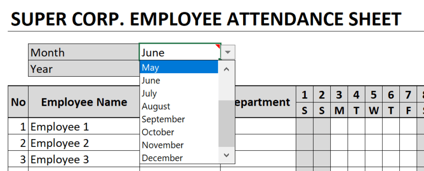 Employee Attendance Sheet Month