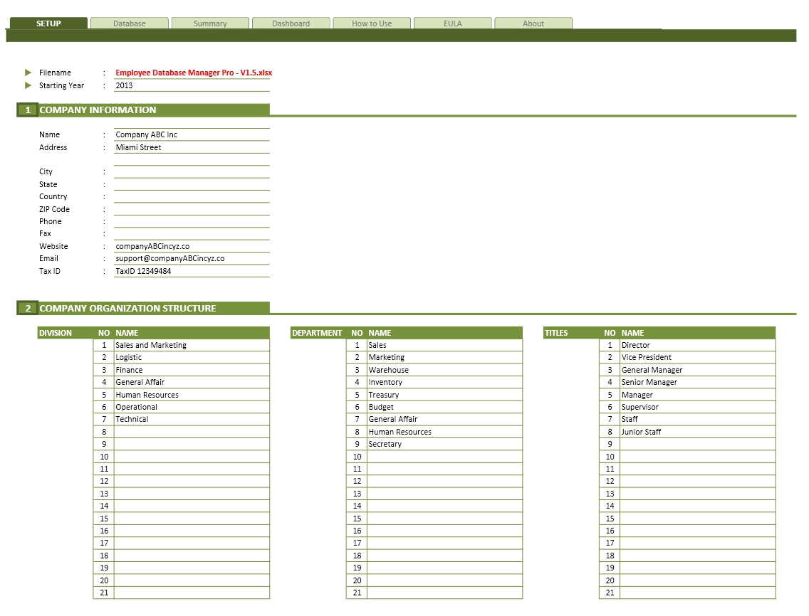 Employee Database Excel Template The Spreadsheet Page
