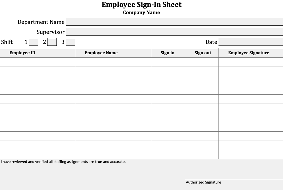 Employee Sign-In Sheet