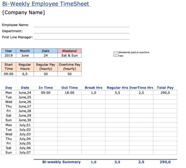 Employee Timesheet Overview