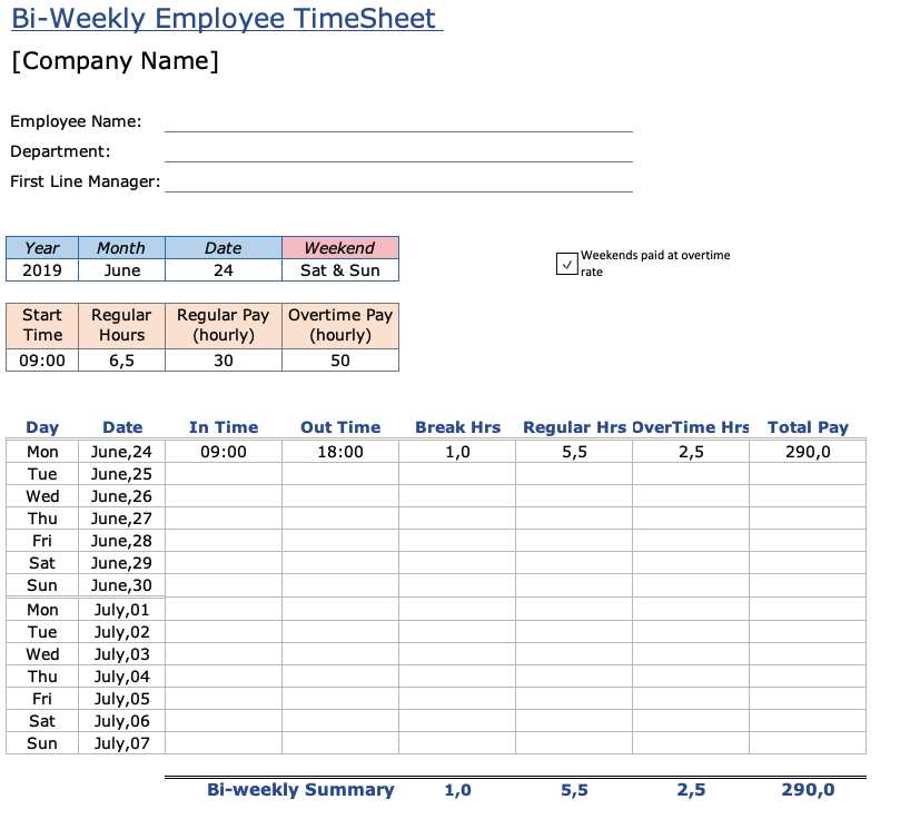 Business Timesheet Template from spreadsheetpage.com